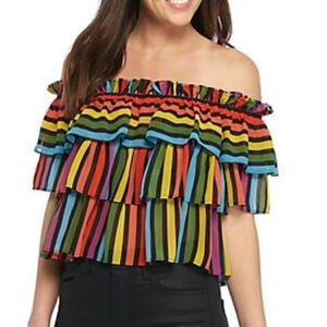 NWT WAYF rainbow striped off the shoulder top